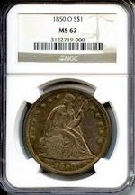 1850-O S$1 MS62 NGC