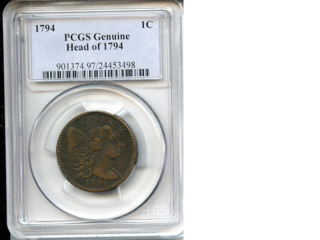 1794 1C Head of 1794 Genuine PCGS