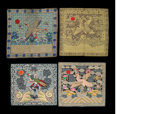 A group of thirteen brocade and embroidered rank badges Late Qing/Republic period