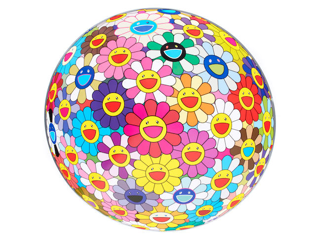 Takashi Murakami (born 1962) Murakami (3), Flower Ball (3D) Pink, Flowerball Cosmos (diameter 71cm), Flower Ball (3-D) (diameter 71cm), , all offset print, cold silver and high gloss varnishing