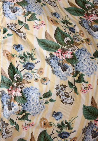 A group of eight floral chintz drapery panels and four valances