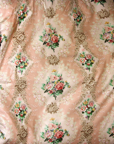 A group of two floral chintz drapery panels and two valances