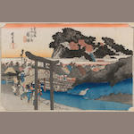 Utagawa Hiroshige (1797-1858) A group of four woodcuts with one woodcut by Kunisada