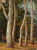 Paul A. Grimm (American, 1891-1974) Mountain Lake, Eucalyptus Trees, Desert Brush and Foothills (Group of three) each 12 x 9in