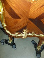 A good Louis XV style gilt bronze mounted tulipwood, rosewood and parquetry commodefourth quarter 19th century