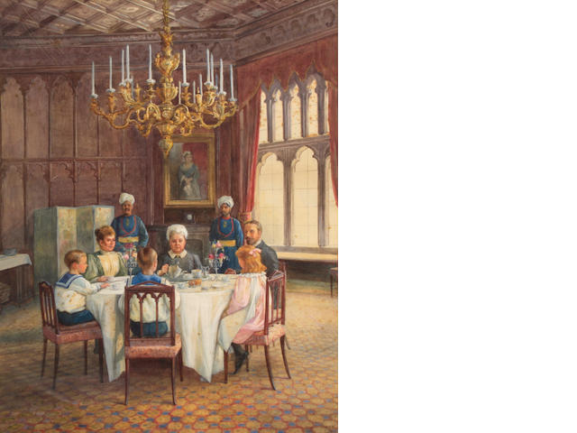 Lucien Davis, A family at tea, thought to be the Royal Family with Queen Victoria, signed, pencil and watercolor, 20 x 15in
