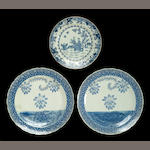 A group of three blue and white plates 19th century