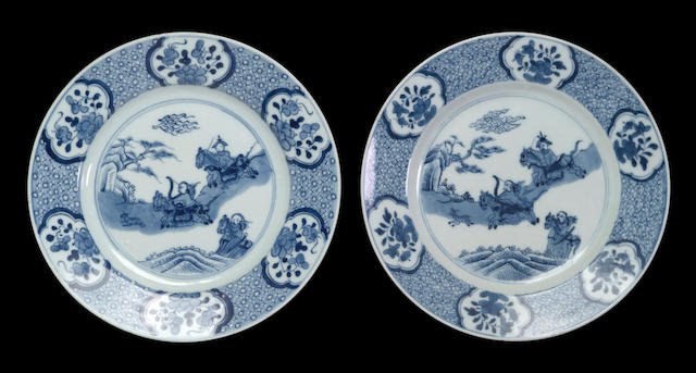 A set of twelve blue and white export porcelain dinner plates  18th century