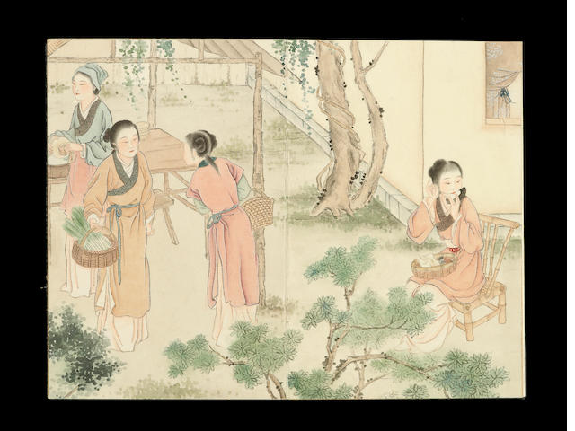 Hu Xiqui (1839-1883) Album of figures, 10 leaves, ink and color on paper