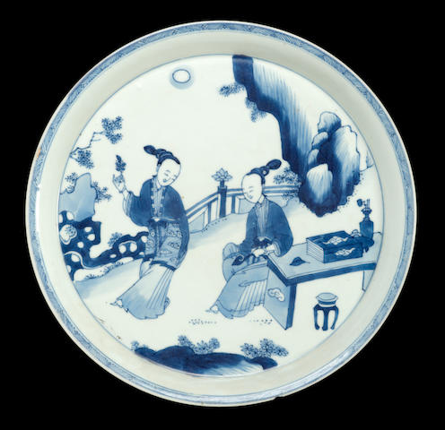 A blue and white porcelain deep dish Chenghua mark, 19th century