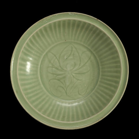 A Longquan celadon porcelain charger Ming dynasty