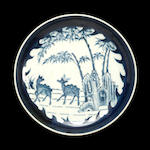A small blue and white porcelain deep dish with auspicious deer decoration 18th century
