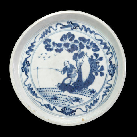 A blue and white porcelain deep dish Transitional period