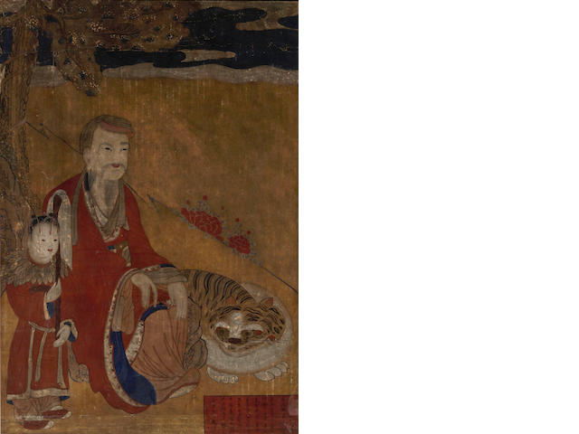 A Korean painting of a Buddha and tiger 18th century Joseon