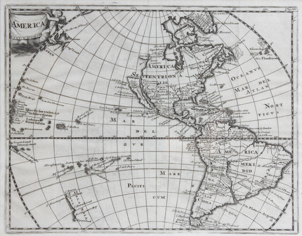 3 AMERICAN MAPS—EIGHTEENTH CENTURY. 1. Engraved map of North and South America, ca.1697, 205 x 260 mm (plate size),