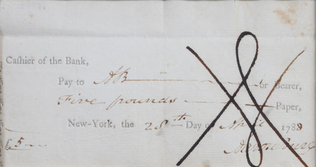 "BURR, AARON. Bank Check Signed (""Aaron Burr""), partially printed and accomplished in manuscript, April 28, 1788,"