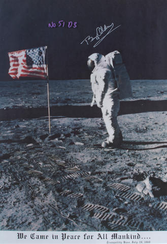 "ASTRONAUTS. 1. ALDRIN, BUZZ. Color poster Signed (""Buzz Aldrin""), 32 1/2 x 22 1/2 inches (sight size),"