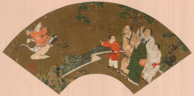 Kano School (16th/17th century) Three fan paintings