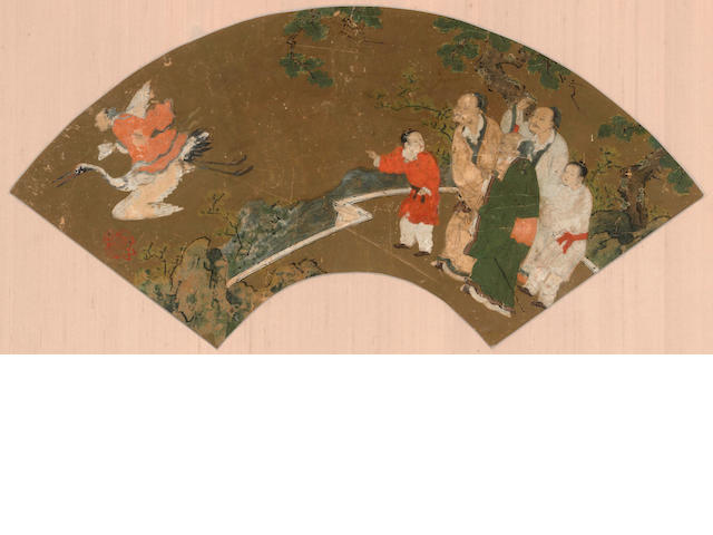Kano School (16th/17th century) Three fan paintings
