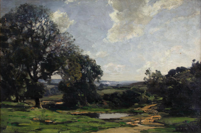Jose Weiss (British, 1859-1919) A wooded landscape under cloudy skies 16 x 24in
