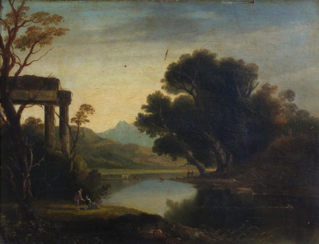 English School, 19th Century A river landscape with temple ruins 10 x 13in