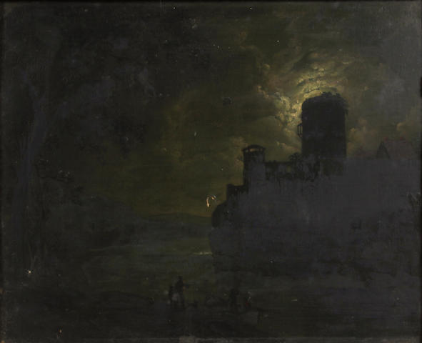 Follower of Henry Pether (active 1828-1865) A moonlit landscape 11 3/4 x 15in