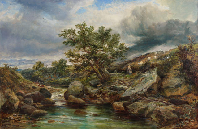 English School A river landscape with a shepherd and flock on the banks