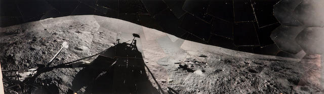SURVEYOR I. Unique wide-angle hand mosaic of Surveyor I's shadow on the Oceanus Procellarum, June 13, 1966,