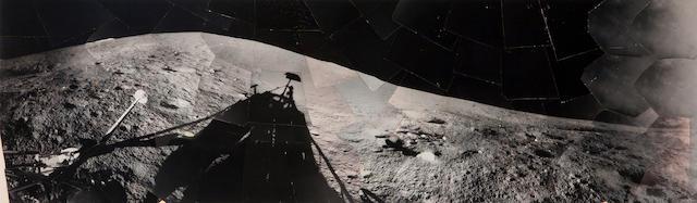 SURVEYOR I. Unique wide-angle hand mosaic of Surveyor I's shadow on the Oceanus Procellarum, June 13, 1966,