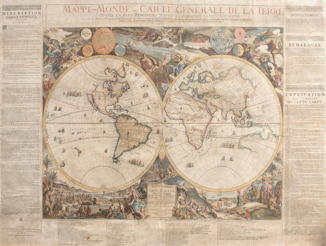 FER, NICOLAS DE. 1646-1720. Mappe-Monde ou Carte Generale de la Terre.  Paris: chez l'auteur, 1705/1711.<BR />