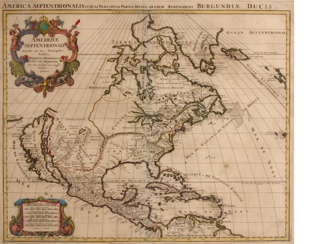 JAILLOT, ALEXIS HUBERT. 1632-1712.  Amerique Septentrionale divisee en ses pricnipales parties.... Paris: [Jaillot], 1694.