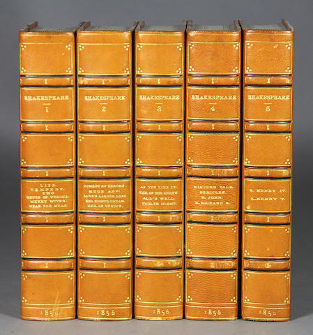 SHAKESPEARE, WILLIAM. Works. London: 1856. 10 vols. Tan calf over marbled boards.