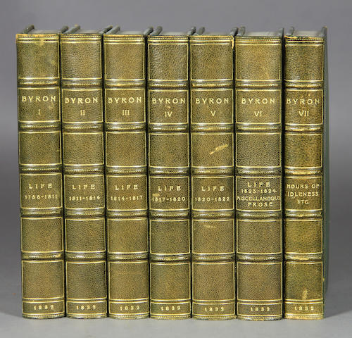 BYRON, GEORGE GORDON NOEL (LORD). Works. London: 1832. 17 vols. Brown morocco over cloth.