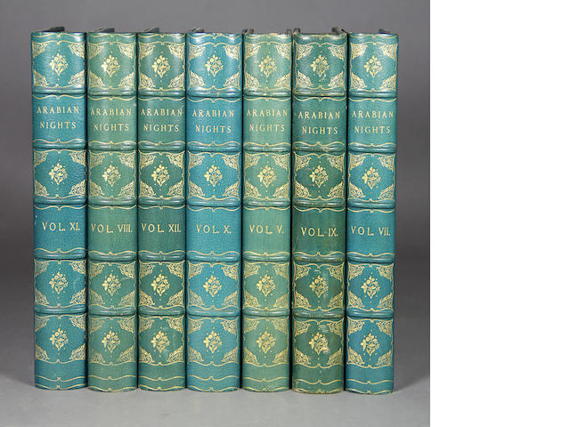 BURTON, RICHARD FRANCIS. The Arabian Nights. Benares: Kamashastra Society, 1885. 12 vols. Half blue morocco over marbled boards.