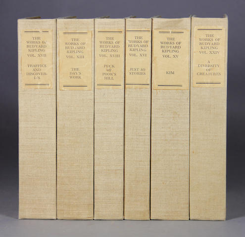 KIPLING, RUDYARD. Works. Garden City: 1914-1926. 27 vols. Original beige buckram over boards. Seven Seas edition. #326 of 1050 copies, signed by Kipling.