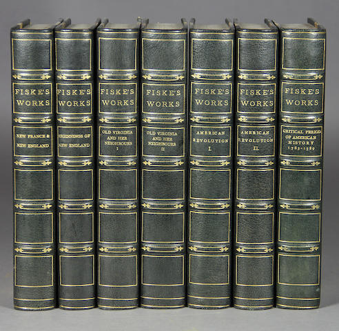 FISKE, JOHN. Works. Boston: [1892]. 11 vols. Half dark green morocco over marbled boards.