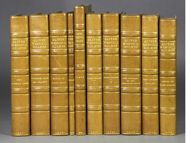 HOLMES, OLIVER WENDELL. Collection of 16 first editions, covering 1833-1887, uniformly bound in half green morocco over marbled boards.