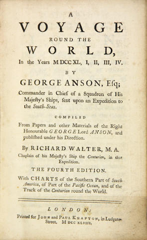 ANSON, GEORGE, BARON ANSON. Voyage Around the World.... London: 1748. 8vo. Calf. Covers detached. With 3 maps.