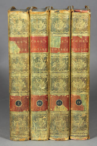 COOK, JAMES, CAPT. [Third Voyage, Abridged.] A Voyage to the Pacific Ocean.... London: 1785-88. 4 vols. 8vo. Calf. Lacks chart.