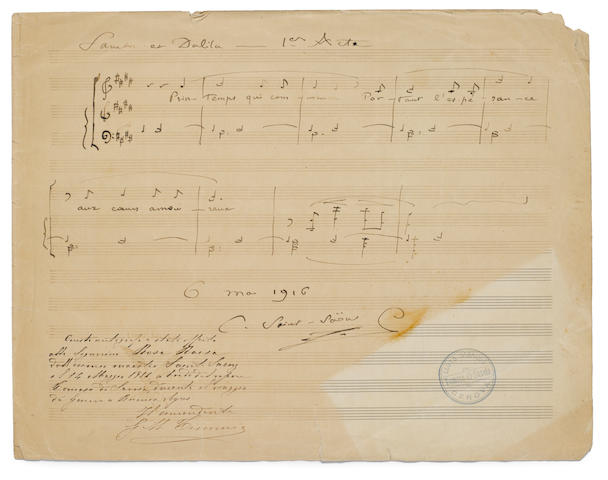 "SAINT-SAENS, CAMILLE. 1835-1921. Autograph musical quotation signed (""C. Saint-Saëns""), 1 p, folio, Geneva, May 6, 1916, being 8 bars from the first act of Samson & Dalila, [sic]"
