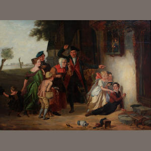 English School, 19th Century Figures outside a cottage 27 x 35 1/2in