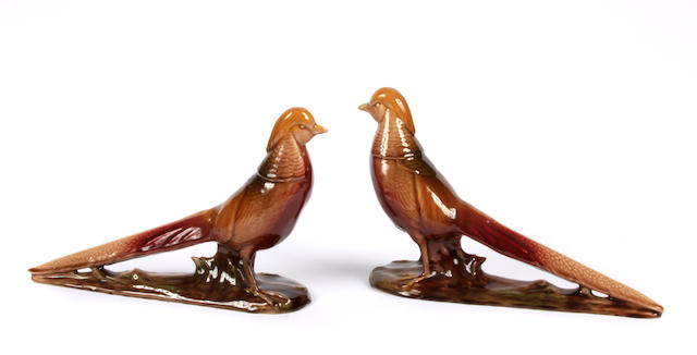 A pair of Rookwood glazed earthenware pheasants model 2832, 1949