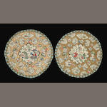 A pair of embroidered satin figural roundels with couched gilt thread ground Late Qing dynasty