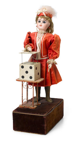 A girl magician with dice and puppet head <BR />French, late 19th/early 20th century
