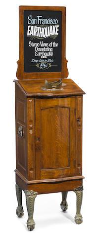A Mills oak console model dropscope <BR />early 20th century