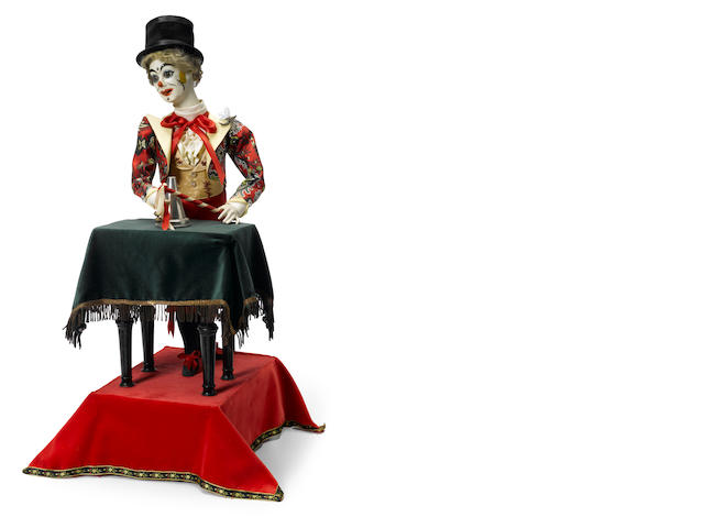 A clown conjuror at a table <BR />French, fourth quarter 19th century