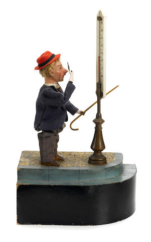 A man watching a street thermometer <BR />French, late 19th century