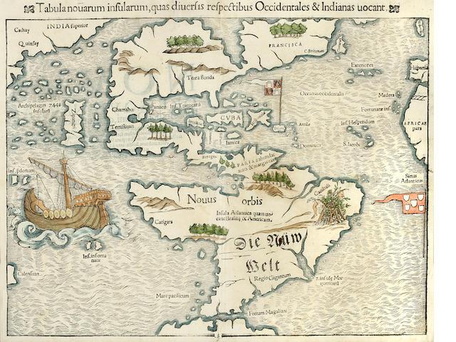 MÜNSTER, SEBASTIAN. 1489-1552. Tabula novarum insularum, quas diversis respectibus Occidentales & Indianas vocant. [Basle: 1550.]