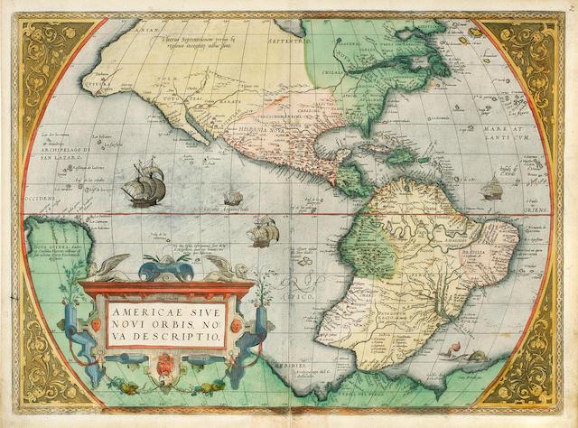 ORTELIUS, ABRAHAM. 1527-1598. Americae sive Novi Orbis, nova descriptio. [Antwerp: 1572/1573.]