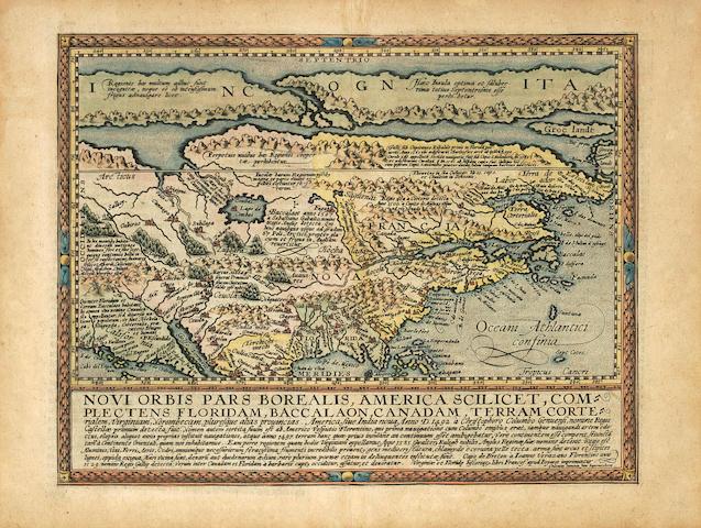 QUAD, MATTHIAS. 1557-1613. Novi orbis pars borealis, America scilicet, complectens Floridam, Baccalaon, Canadam.... Cologne: [1600].